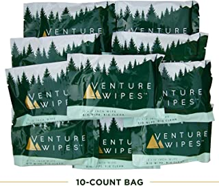 Venture Wipes: Individually Wrapped Body Wipes -10 Count- Natural Ingredients with Tea Tree Oil. Biodegradable Wipes Provide a Camping Shower with a Large 12x12 Inch Textured Wipe. #DirtHappens