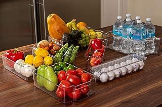 Juego de 7 Cajas Organizadoras para Refrigerador y Congelador, Apilables de Plástico Premium, Para Almacenamiento de Alime...