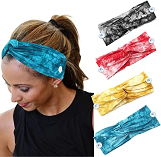 YONUF Boho Headbands For Women Girls With Buttons Elastic Yoga Hair Bands Accessories Tie Dye 4 Pcs
