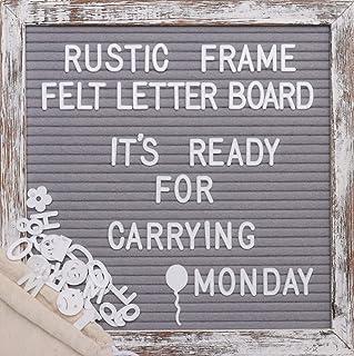 Rustic Vintage Wood Frame Grey Felt Letter Board Birthday Gift Baby milestone Symbols Emojis Simple Cursive Words Decor (G...