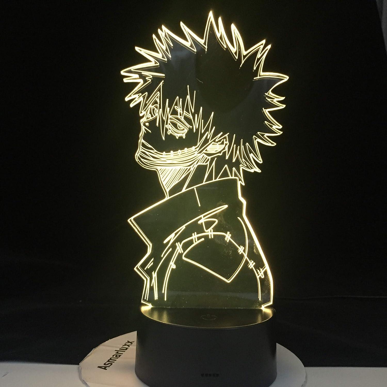 ACADEMIA DABI MY HERO LED ANIME LAMP 3D Nightlights Boku no Hero Academia 3D Visual Night Light Lampada da tavolo Servizio di dropshipping 16 colori con telecomando