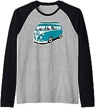 Van Life Hippie Van Retro Surf Van Microbus Raglan Baseball Tee