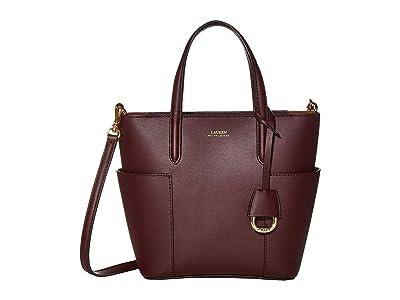 LAUREN Ralph Lauren Carlyle 20 Tote Mini (Bordeaux/Field Brown) Handbags