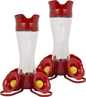Perky Pet 203CPBN-2 8. oz Pinch-Waist Glass Hummingbird Feeder – 2 Pack, Red