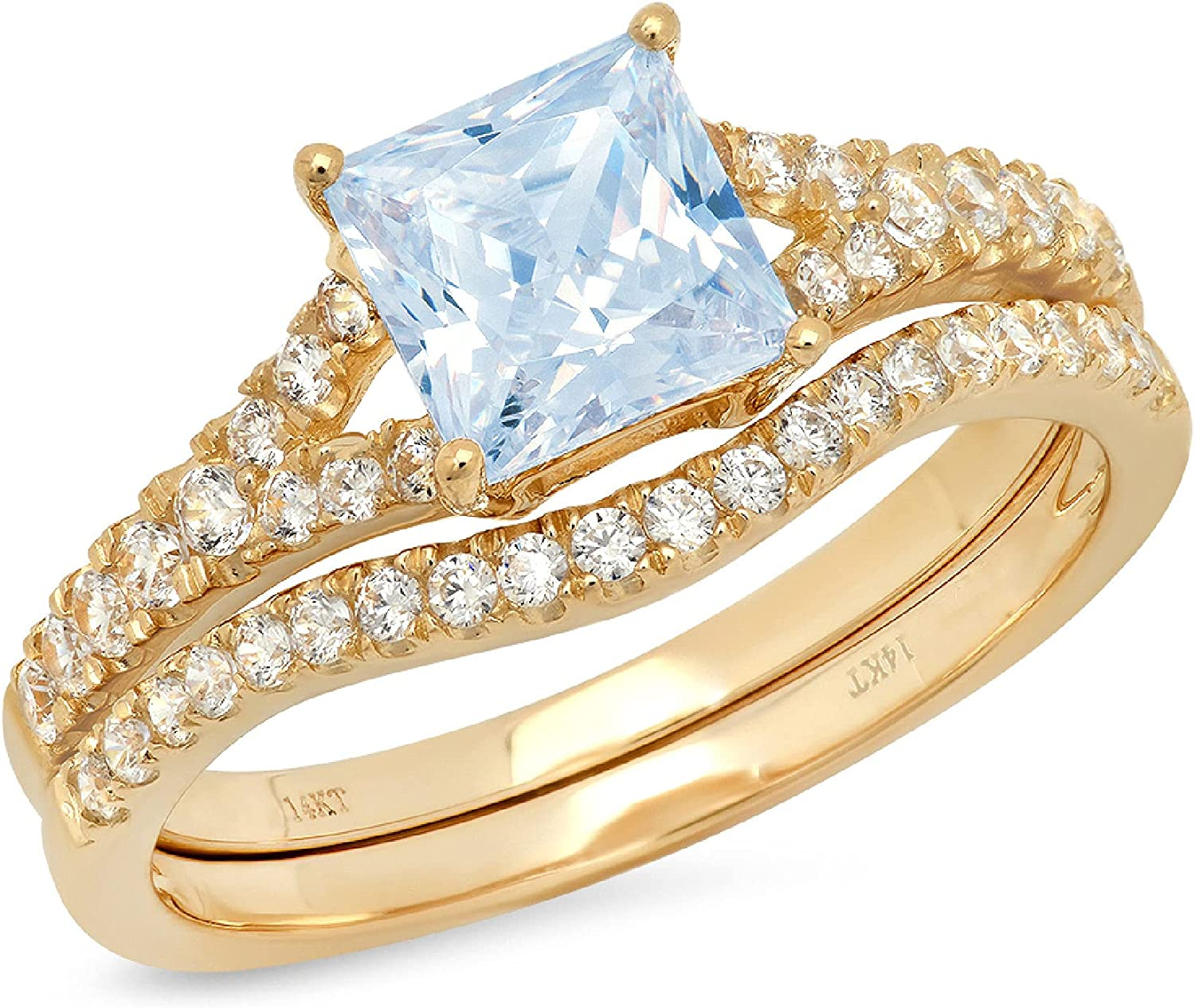 1.95ct Princess Cut Pave Solitaire with Accent VVS1 Ideal Natural Swiss Blue Topaz Engagement Promise Designer Anniversary Wedding Bridal Ring band set Curved 14k Yellow Gold