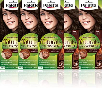 Schwarzkopf Palette Naturals Color Creme - Tono 3 cabello Castaño Oscuro (Pack de 5) - Coloración Permanente – Perfecta cobertura de canas – Colores ...