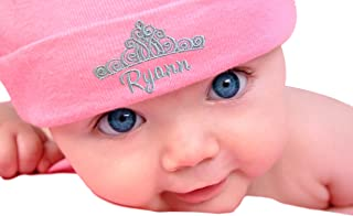 Personalized Embroidered Baby Girl Hat with Princess Crown with Custom Name