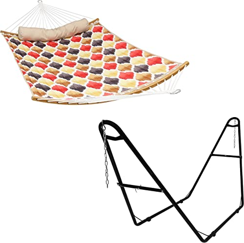 2021 Sunnydaze 450 lb Weight online Capacity Quilted Red and Gold Quatrefoil 2-Person Hammock with Curved Bamboo Spreader Bar high quality and Black Universal Multi-Use Heavy-Duty Steel Hammock Stand Bundle outlet online sale