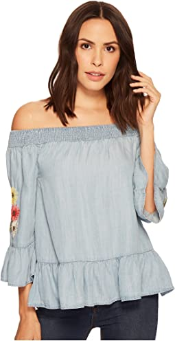 Off the Shoulder Flower Embroidered Blouse