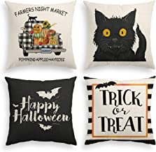 AVOIN Halloween Throw Pillow Cover Truck Jack O'Lantern Black Cat, 18 x 18 Inch Trick or Treat Happy Halloween Linen Cushion Case for Sofa Couch Set of 4