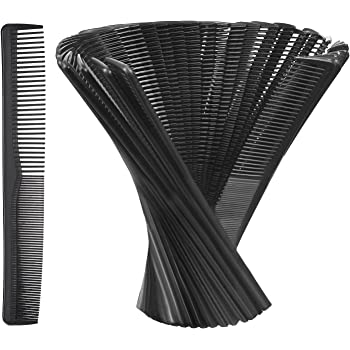 Hestya Hair Comb Pocket Size Unbreakable Plastic Hairdressing Styling Combs for Salon or Hotel Hair Care, Black(36 Pack 17.5 cm)