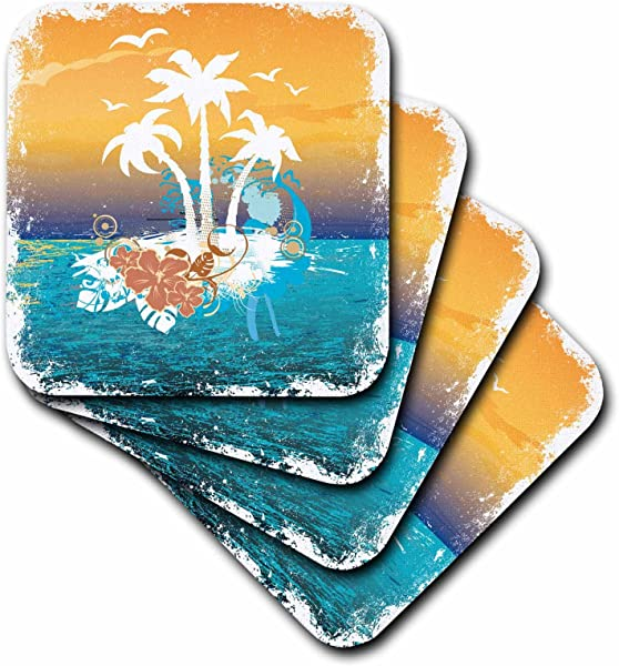 3dRose CST 152566 1 A Pretty Island Scene With Palm Trees And Tropical Flowersin Orange And Blue Soft Coasters Set Of 4