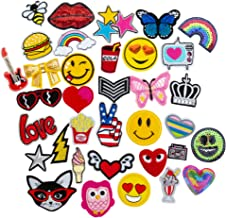 36 PCs Iron On Patches Set - Assorted Designs Embroidered Appliqué Sew On Patch Set Great for Repairing, Decorating, Reinforcing and Mending Jeans, Backpacks, Denim Clothes - Cool Party Favors (2)