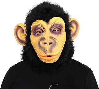 ifkoo Chimp Mask Rubber Creepy Monkey Gorilla Head Mask Halloween Party Costume Decorations