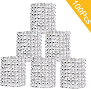 DearHouse Napkin Rings, Silver Napkin Rings Buckles Rhinestone Napkin Rings for Table Decorations, Wedding, Dinner,Party, DIY Decoration,Set of 100