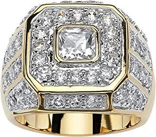 Men's 14K Yellow Gold Plated Square Cut Cubic Zirconia...