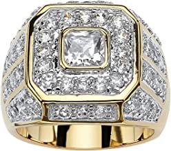 Palm Beach Jewelry Men's 14K Yellow Gold Plated Square Cut Cubic Zirconia Octagon Ring