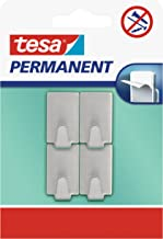 tesa H6661200 66612-0000-00 permanente haak rechthoekig metaal, grijs, 6612000000, klein