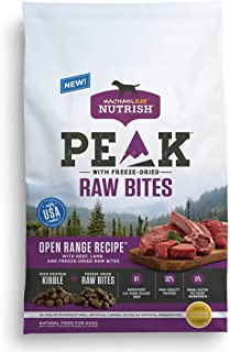 Rachael Ray Nutrish Peak Natural Dry Dog Food with Freeze Dried Raw Bites, Grain Free Open Range Recipe with Beef & Lamb, 4 lbs