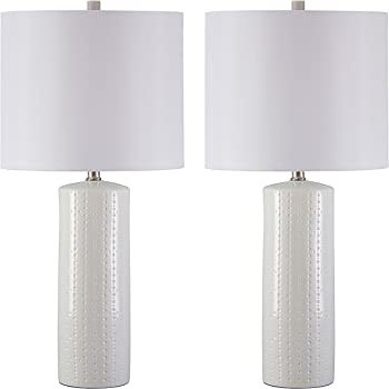Signature Design by Ashley - Steuben Textured Ceramic Table Lamp Set with Drum Shades - Contemporary - Set of 2 - Solid White, 2 Piece