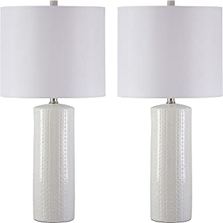 Signature Design by Ashley L177904 Ashley Furniture Signature Design-Steuben Textured Ceramic Table Lamp Set with Drum Shades-Contemporary-Set of 2, Solid White, 2 Piece