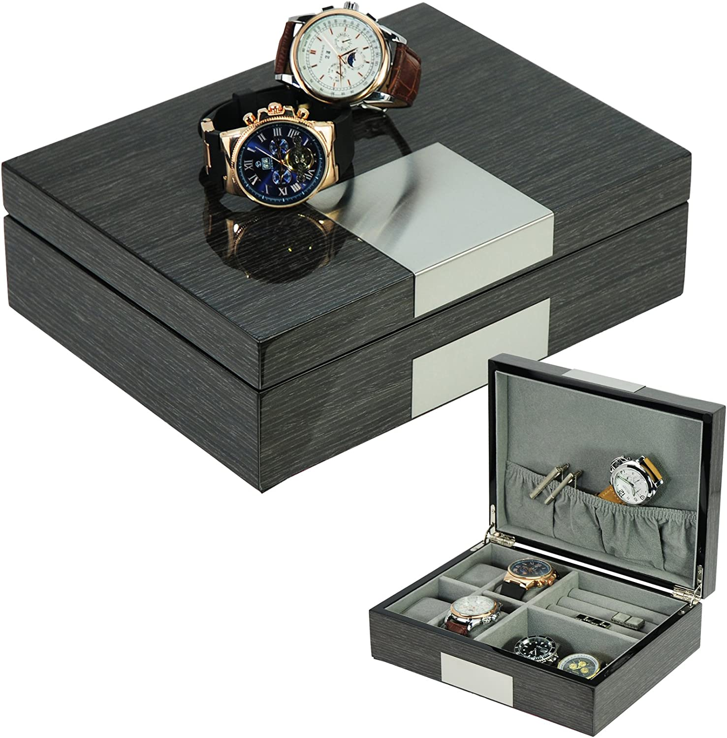 TimelyBuys Grey Ginko Lacquered Wood Watch Cufflink Case & Ring Storage Organizer Men's Jewelry Box