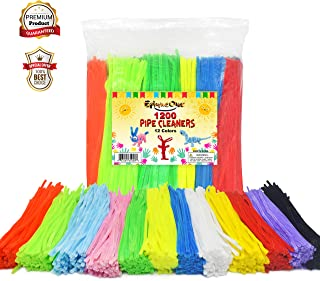 EpiqueOne 1200 Pipe Cleaners in 12 Assorted Colors 1000 Plus 200 Fluorescent Chenille Stem for Decorations DIY Arts and Crafts Projects Art Supplies for Adults and Kids