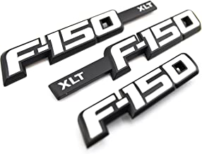 Truck Emblem Warehouse New Custom Matte Black & Gloss White 2009-2014 F150 XLT Fender Badges Tailgate Emblems KIT