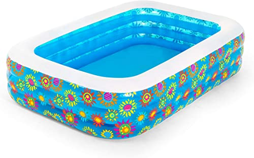 new arrival Bestway new arrival discount 54120-17 BW54120 Inflatable Family Pool, Happy Flora Rectangular Swimming with Water Capacity 702L online
