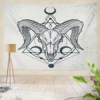 Summor Decor Collection, Skull Ink Graphic Skull with Sacred Geometry Shapes Grunge Good Shirt Tattoo Animal Biker Black Magic Boho Living Room Wall Hanging Tapestry 60