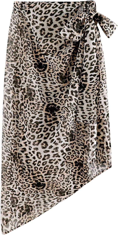 Lu's Chic Women's Long Wrap Skirt Beach Sarong Sheer Cover Up Chiffon Bikini Bottom Print