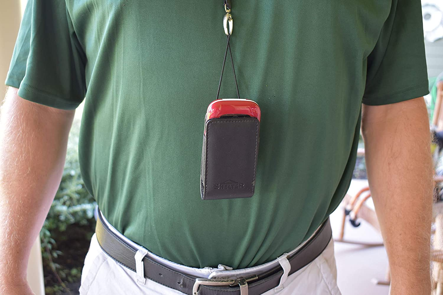 Around The Neck Hanging Open Top Leather Case with Safety Lanyard fits Alcatel Jitterbug Flip Phone
