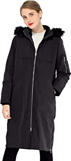 Women's Outdoor 3-in-1 Long Windbreaker Jacket with Detachable Fur Hood Liner Packable Down Coat