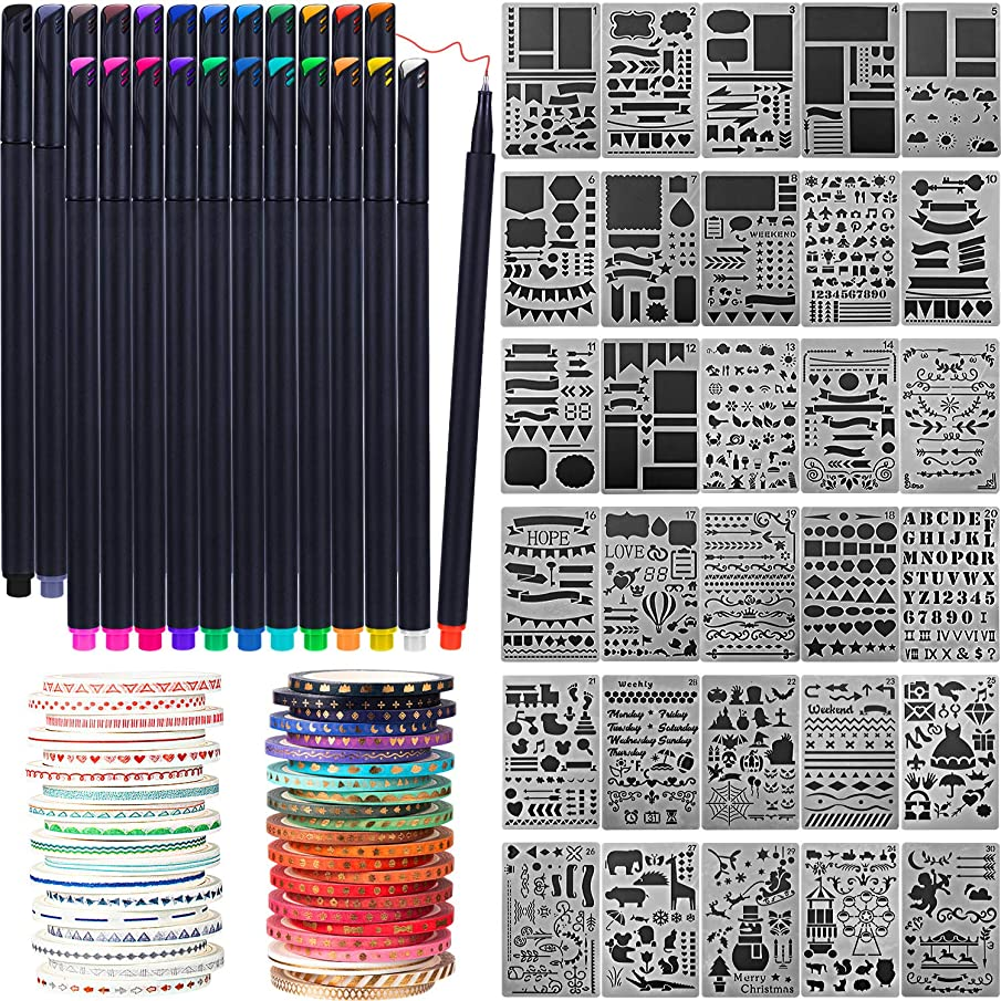 78 Pieces Journal Stencil Washi Tape and Journal Planner Pen Starter Full Set for Scrapbook Journal Notebook Diary DIY Plastic Drawing Template (Style C)