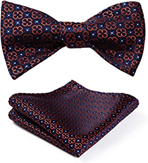 Hisdern Bow Tie and Handkerchief for Men with Paisley and Jacquard Set