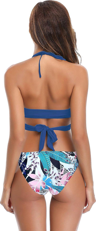 SHEKINI Damen Zweiteilige Bikini Set Crossover Badeanzug Strandkleidung Neckholder Triangel Oberteil Bandeau Strandmode Sport Split Blumendruck Bikinihose See Blau