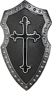 Suit Yourself Black Cross Medieval Shield, Matte Black with a Gothic Cross Symbol, Measures 15 Inches by 27 Inches