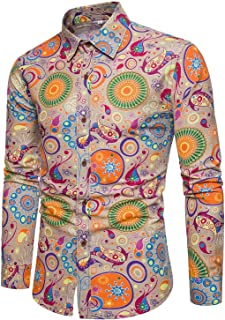 Emaor Men's Stylish Floral Long Sleeve Shirt & Short Sleeve Shirt
