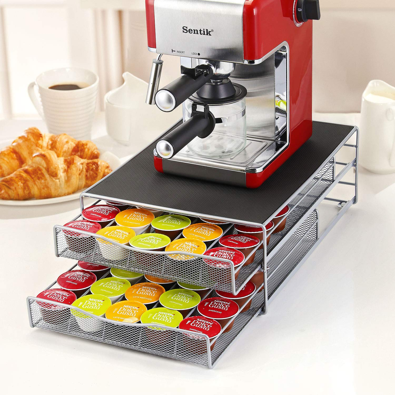 Soporte para cafetera de 2 niveles y cajón de almacenamiento para cápsulas Nespresso y Dolce Gusto: Amazon.es: Hogar
