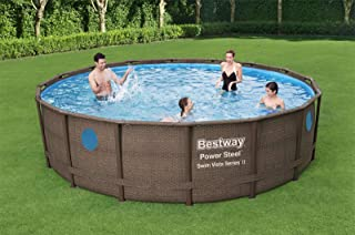 Bestway 56725 Schwimmbad-Set Con Marco de Acero, Redondo Rattan-Druck Sobre El Suelo, 40,6 X 121,9CM, Con Bomba de Filtro, Leiterabdeckung