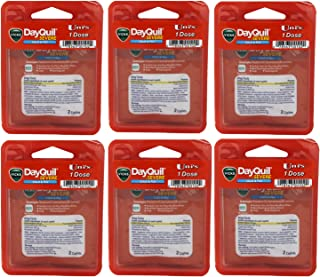 Uni's Vicks DayQuil Severe Cold and Flu Multi-Symptom Relief 6 Count Travel Packs (2 Caplets Per Pack). #1 Pharmacist Recommended, Non-Drowsy, Daytime Sore Throat, Fever, and Congestion Relief