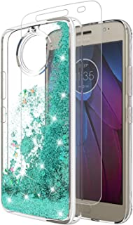 Moto G5S Plus Case With Tempered Glass Screen Protector, Rosebono Quicksand Glitter Sparkly Bling Cute Liquid Shiny Luxury TPU Protective Cover for Motorola Moto G5S Plus (Teal)