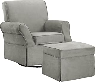 Baby Relax Kelcie Swivel Glider Chair and Ottoman Set, Nursery Furniture, Gray Microfiber