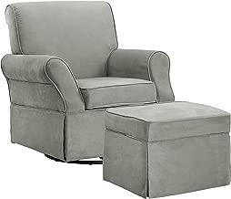 Baby Relax Kelcie Swivel Glider Chair and Ottoman Set, Nursery Furniture, Gray Microfiber