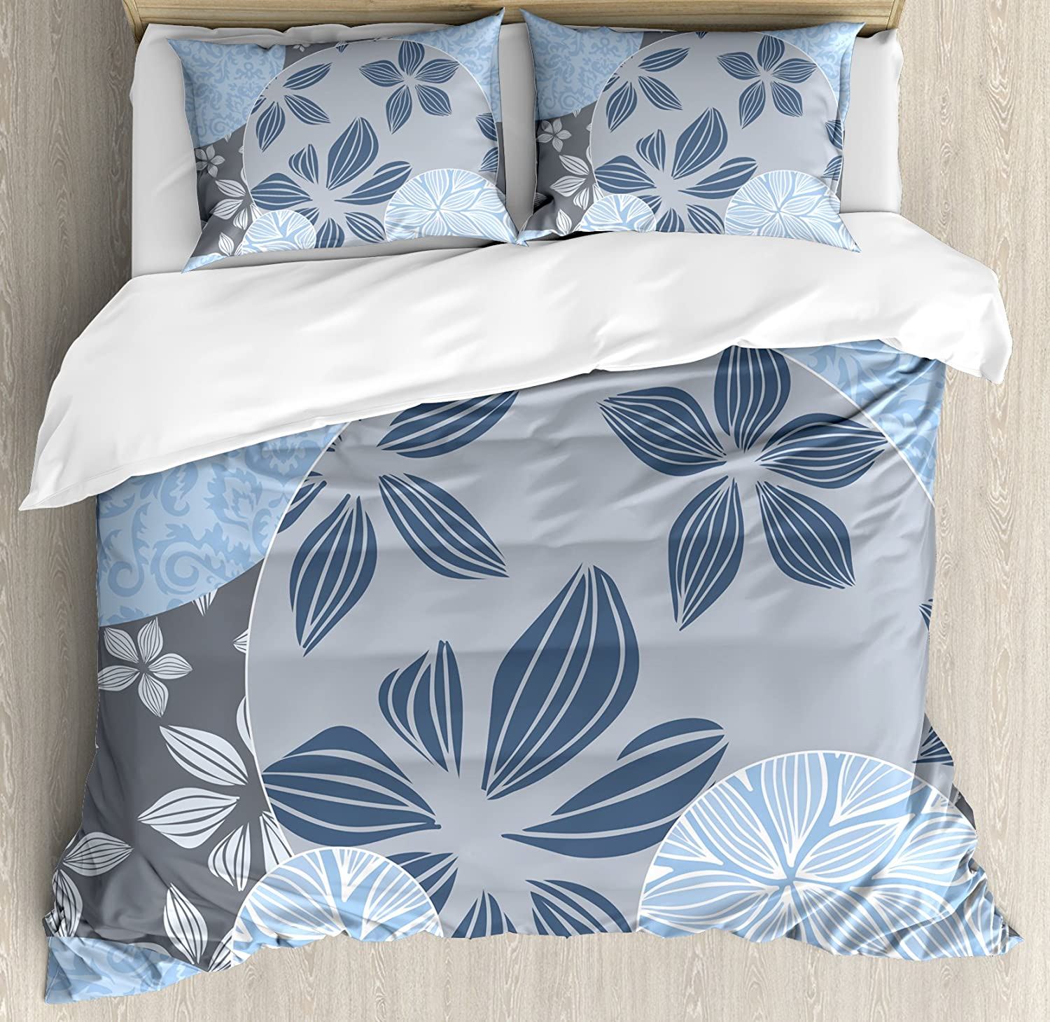 Flower Queen Size Duvet Cover Set by Ambesonne, Tropical Blooms inside Circular Shaped Forms Swirled Petals Elegance Pattern, Decorative 3 Piece Bedding Set with 2 Pillow Shams, Light bluee Grey