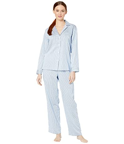 LAUREN Ralph Lauren Classic Woven Long Sleeve Pointed Notch Collar Long Pants Pajama Set (Blue Stripe) Women