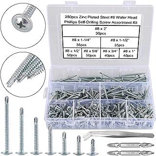 FandWay 280 Pcs M4.2(#8) Zinc Plated Steel Wafer Head Phillips Self Drilling Screws, Sheet Metal Tek Screws Assortment Kit...