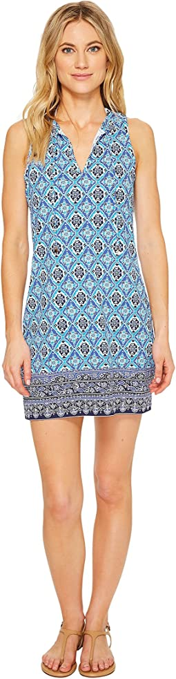 Tika Tiles Split-Neck Swim Dress Cover-Up