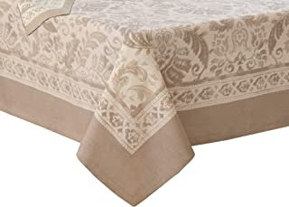 Villeroy and Boch Milano Jacaquard Print Cotton Fabric Tablecloth, Taupe