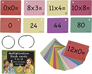 Multiplication Flash Cards, one Set of 0-12 Times Tables Cards, 169 Double Sided Multiplication Flash Cards with 2 Rings I...